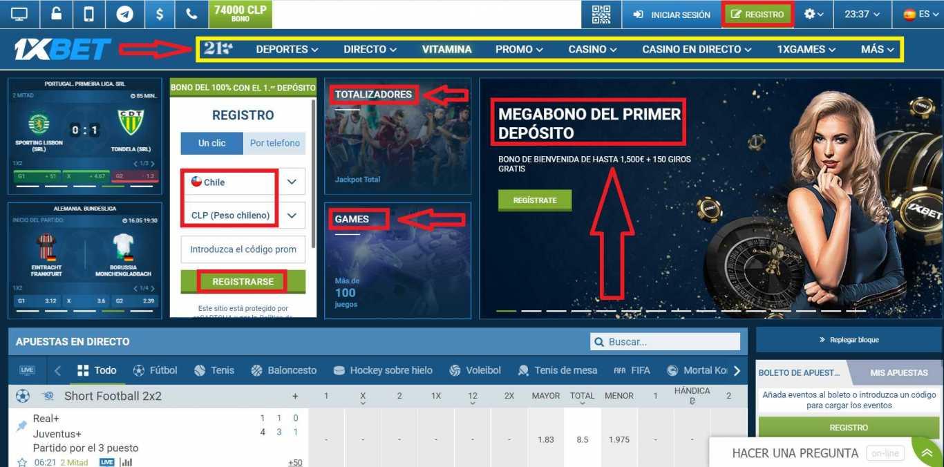 1xBet Chile register 4 modos principales